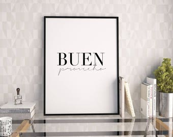 BUENO PROVECHO SIGN, Bon Appetit,Kitchen Decor,Home Decor,Bar Decor,Modern Art,Spanish Gift,Spanish Quote,Food Gifts,Eat Sign,Quote Prints