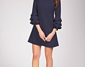 Mini stacked ruffles dress
