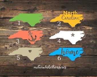North Carolina Decal / Custom Color, Size, Car, Yeti, Tumbler, Wall Decal / Beach, Nautical, Anchor, Home, Heart, Pride Accessories