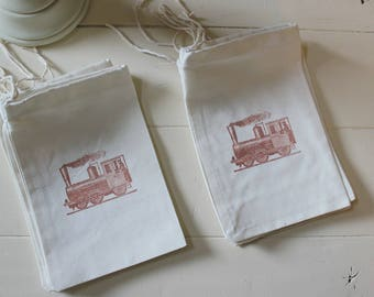 25 Vintage Train muslin cotton party favor bags 4x6 inch - great for birthday parties - goodie bags, cotton pouch, favor bags, gift bags