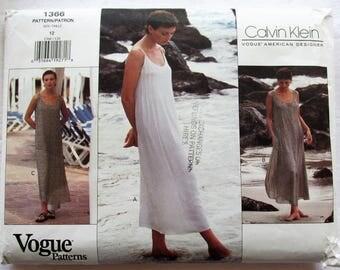 Vogue 1366 Calvin Klein Sundress Boho Maxi Dress Sewing Pattern American Designer UNCUT Size 12 Vintage 1990s
