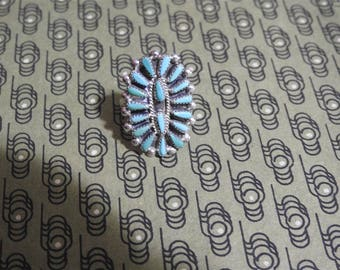 stunning vintage fred harvey era zuni petit point sterling silver and turquoise ring size 7