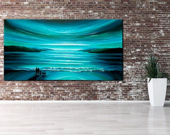 120 cm X 60 cm Original, PAINTING on Canvas, TURQUOISE, green, landscape/Seascape, sunset, Wall Art, Modern, Contemporary