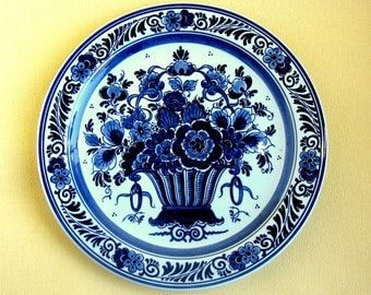 "Royal Goedewaagen Blue Delft Plate / Blauw Delfts / Hand Painted / Blue & White Plate / Art Pottery / Wall Plate / 10 ""/ Signed / Handwork"