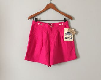 bright pink linen shorts // new old stock high waisted linen tap shorts