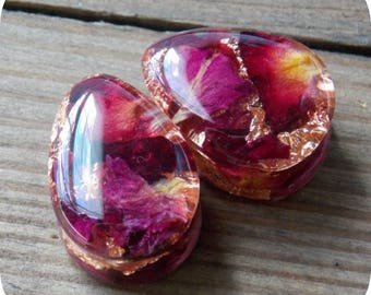 Real Rose Plugs Copper flake Plugs Pair Natural Flowers Resin Teardrop Double Flare Single Flare Wedding Valentines Unique Custom Gauge