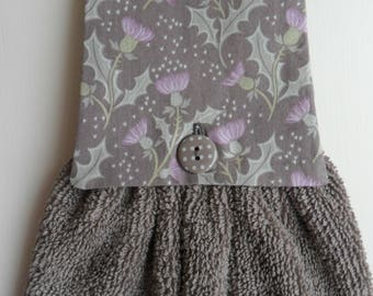 Handmade Hanging Hand Towel Taupe with Purple Thistles