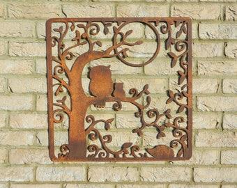 Rusty Metal Owl Wall Decor / Rusty Metal Wall Art / Owl Garden Decoration /  Rustic