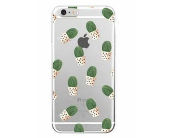Cactus Cell Phone case Potted Cacti with Hearts Iphone 7 Plus Cacti Phone Case Cover Silicon