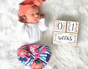 Baby Girl - Baby Age Blocks - Baby Milestone Blocks - Baby Monthly Milestone - Monthly Blocks - Baby Girl Milestone - Newborn Photo Prop