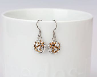 Round Dangle Earrings, Swarovsky Crystal, Beads Bars, Sterling Silver Ear Wire, Crystal(White) Color, Korean Unique Style