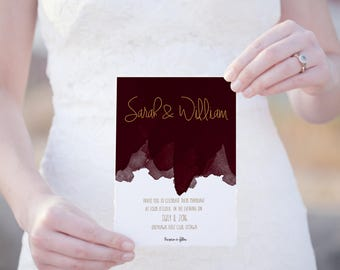 No. 10 (Wine) | 5 x 7 Invitation | Watercolour | Burgundy | Editable and Printable PDF | DIY | Wedding, Party or Reception | Card