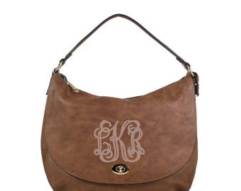 Monogrammed Buckle Hobo Handbag in Camel - The Mandy