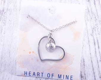 Customizable! Heart of Mine: Volleyball Silver Necklace - Great Volleyball Gift!