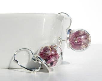 Glass globe earrings / CHIVES flowers