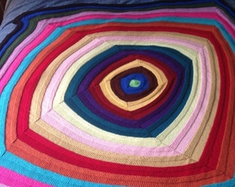 Multicolor Hand Knit Throw Blanket