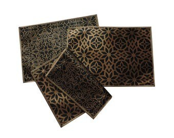 6 Table PlaceMats Reversible Mats Bronze Wedding Mats Floral Geometric  Table Mats