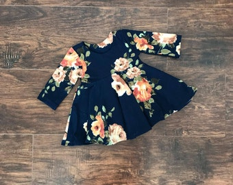 Floral Peplum Top, Baby Blouse, Toddler Peplum Top, Toddler Blouse, Baby Clothes, Toddler Shirt, Navy Floral