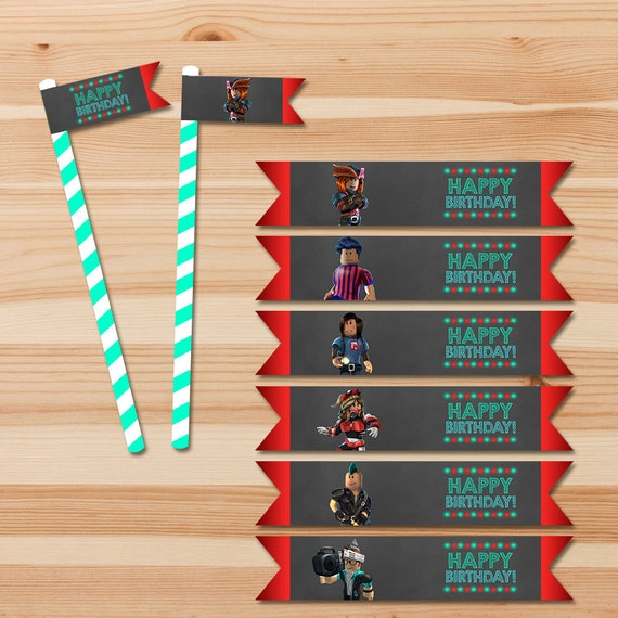 Roblox Straw Flags - Chalkboard - Roblox Straw Labels - Roblox Party - Roblox Printables - Roblox Birthday Party Favors - Printable Stickers
