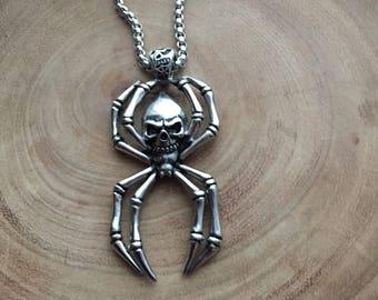 Tarantula necklace, Skull Jewelry, Human Skull Necklace, Mens Necklace, spider necklace, Jewelry for men, Gothic jewelry, pirate jewelry