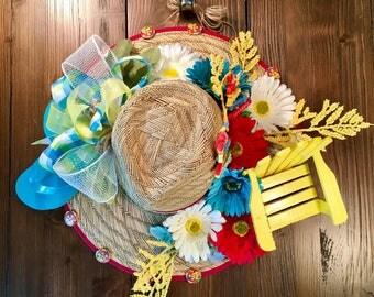 Tiki Bar Straw Hat Wreath, Wreath Alternative, Coastal Decor, Beach Door Wreath, Flip Flop Wreath, Beach Wall Decor, Coastal Wall Decor