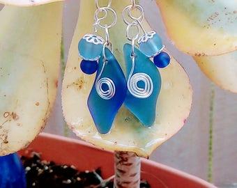 Dangly Sea Glass Earrings