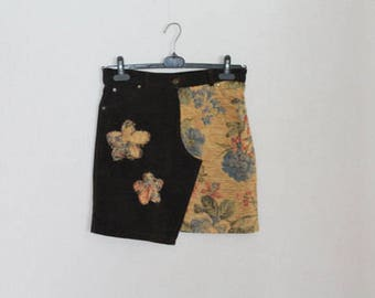 Upcycled Brown Corduroy High Waisted Mini Skirt Country Western Boho Floral Tapestry A-Line Medium Size