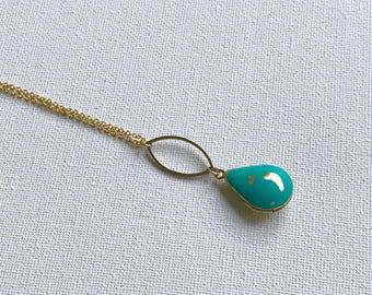 Teardrop Locket, Geometric Locket, Turquoise Teardrop Locket, Teardrop Necklace, Modern, Hand Painted Locket, Petite Locket, Modern Locket