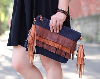 Boho handbag - Denim Clutch Bag - Girlfriend gift - Crossbody bag - Gift idea for her - Crossbody Purse - Bohemian Clutch - Brown