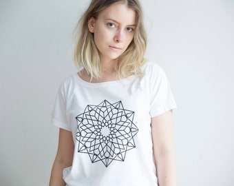 FREE DELIVERY! / Loose women Mandala T-Shirt for Good Decisions  / White Mandala T-Shirt / Sacred Mandala Shirt / Mandala Top / Mandala Tee