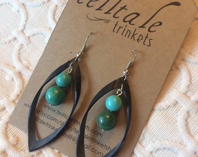 Black boho loop earrings, turquoise beads, rubber earring, bike inner tube earring, vegan leather, statement earring, upcycled rubber