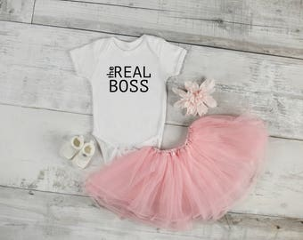 The Real Boss / Real Boss Onesie / Baby Shower Gift / New Baby / Funny Onesie / Custom Onesie / New Baby /