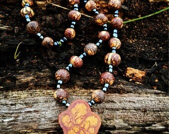 Ayahuasca Necklace with Rainforest Seeds and Hematite seed beads