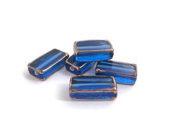 Czech Lampwork bead, Rectangle Bead, Handmade Glass Bead, Vintage Bead, Sapphire Blue, Jewelry Making, 6x10x18, 2pcs