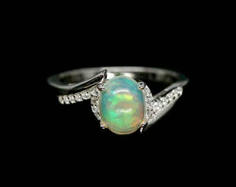 Delicate opal ring October Birthstone, opal engagement ring, Birthday gifts for wife, gifts for mom, Opal Promise Ring, white opal ring