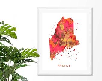Maine Watercolor Map #8 Art Print, Poster, Wall Art, Contemporary Art, Modern Wall Decor, Office Decor