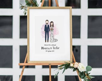 Custom Portrait Wedding Welcome Sign
