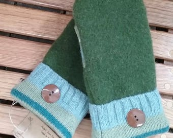 Forest green and blue mittens