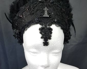 Gothic gravestone cross black Burlesque Kokoshnik / tombstone cross Frenchhood with feather trim and lace