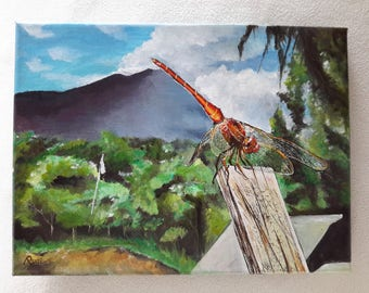 Resting Dragonfly - Original Acrylic Painting On Canvas - Dragonfly Wooden Stick Summer Season - Handmade