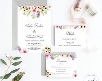 Printable Floral Wedding Invitations, Printable Wedding Invitation Suite with Boho Flowers, Boho rustic Wedding Invites with RSVP