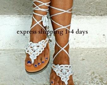 """20% OFF Leather sandals/ Gladiator Sandals/ Boho Sandals/ Crocheted Sandals/ Wedding Sandals/ Bridal Sandals/ Boho Flats """"SILVER SAND"""""""