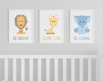 Animal Prints | Zoo Animals | Nursery Art | Brave Tall Strong | Set of 3 Prints | Safari Nursery | Lion | Giraffe | Elephant | Safari Animal