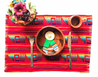 Mexican placemat, woven napkins, mexican napkins, fiesta decorations, mexican party decorations, hippie decor, tribal decor, fiesta SET OF 6