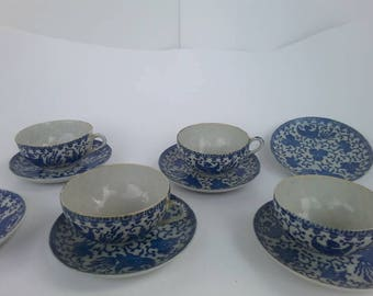 Blue and White Japanese Phoenix or Flying Turkey Bone China Tea Cups and Saucers set