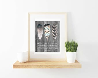 Printable Wall Art, Psalm 91:4, scripture, feathers, boho, bohemian