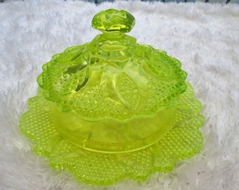 Cheese / Butter Dish Server Yellow Pressed Glass Vintage 80's