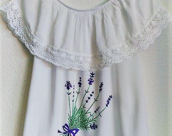 Custom hand painted white shirt with lavender flowers