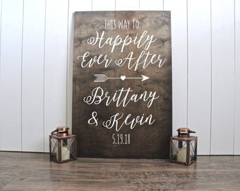 Welcome To Our Happily Ever After Sign - Wood Wedding Welcome Sign - Rustic Wood Wedding Signs - Customized Wedding Signs - Woodsy Wedding