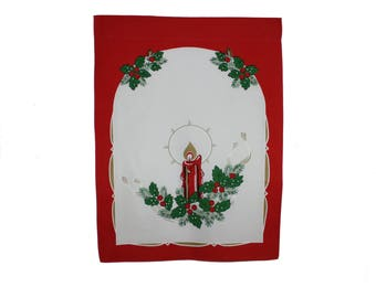 Stylish Christmas vintage retro white and red Parade Kitchen Towel with candle and ornaments. Made in Sweden Scandinavian